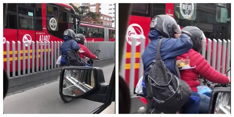 No se aguantó el hambre y sacó la coca del almuerzo mientras iba moto en Bogotá