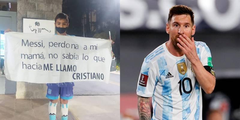 Niño le pide perdón a Lionel Messi por llamarse Cristiano